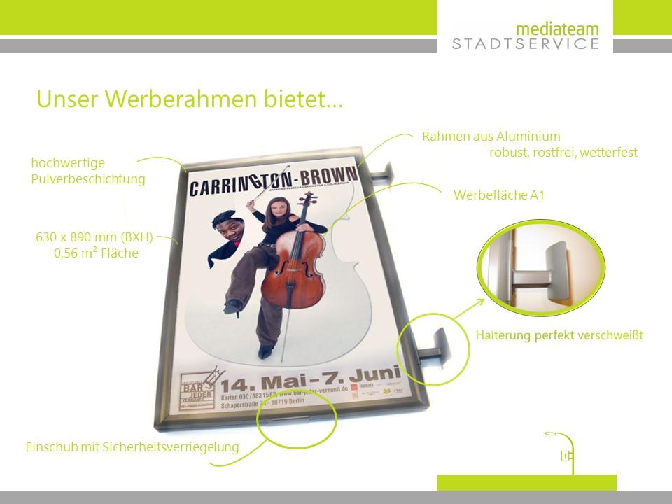Werberahmen Laternenmastwerbung in Berlin - dm
